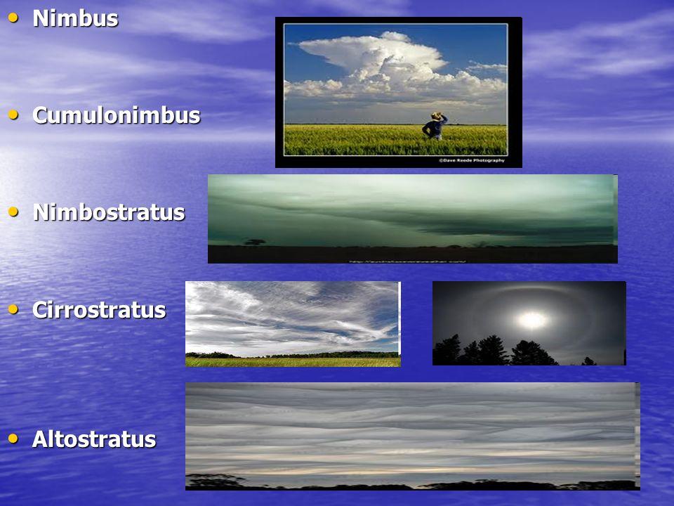 Nimbus Cumulonimbus Nimbostratus Cirrostratus Altostratus
