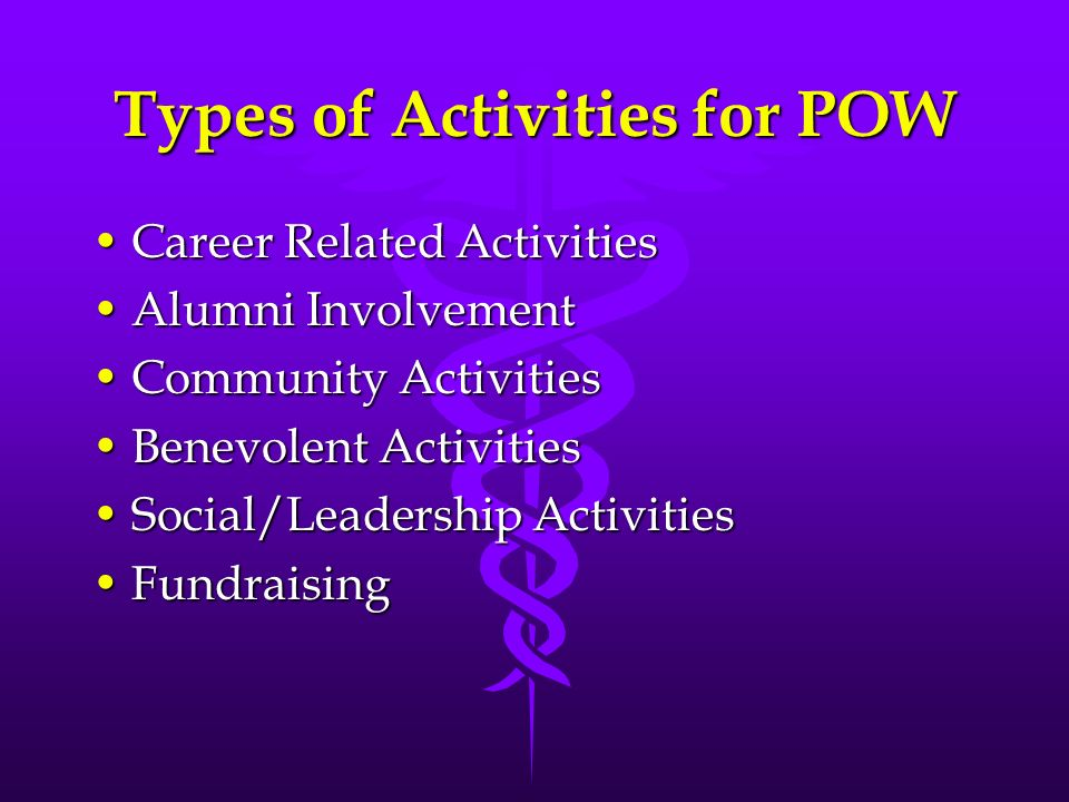 Types of Activities for POW