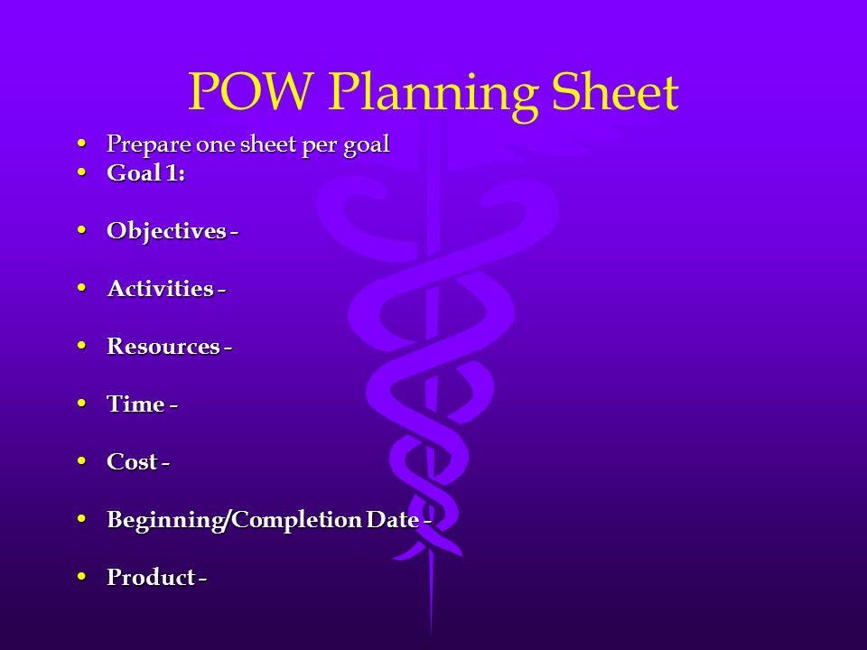 POW Planning Sheet Prepare one sheet per goal Goal 1: Objectives -
