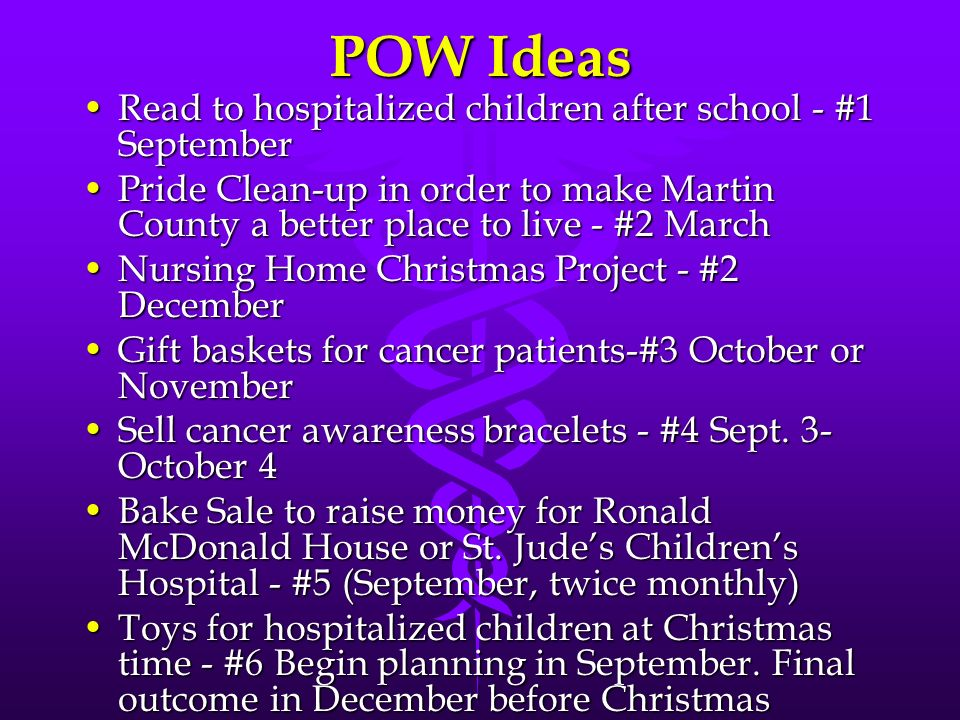 POW Ideas Read to hospitalized children after school - #1 September