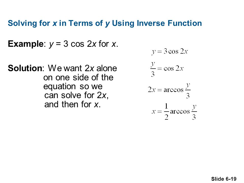 Solving for x in Terms of y Using Inverse Function