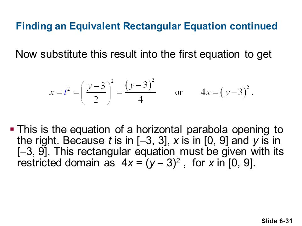 Finding an Equivalent Rectangular Equation continued