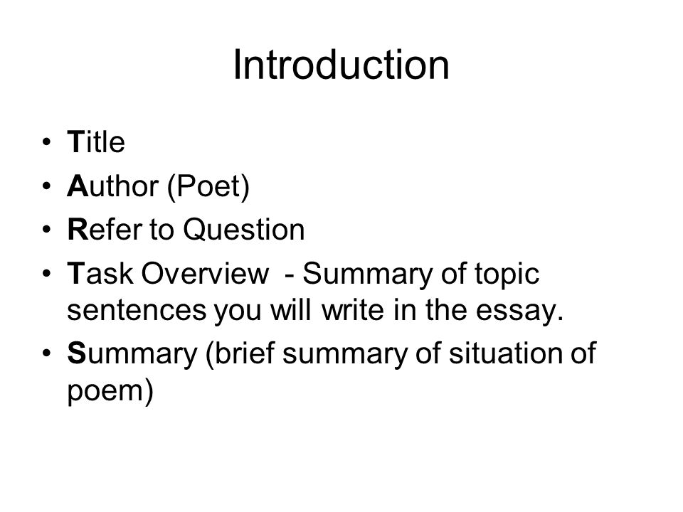 Introduction Title Author (Poet) Refer to Question
