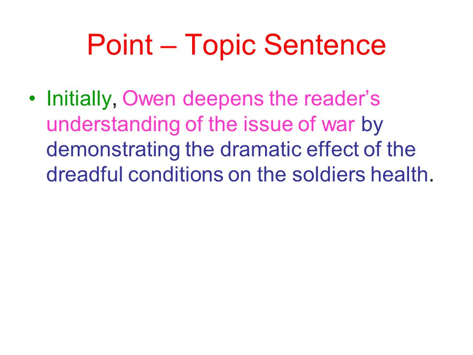 Point – Topic Sentence