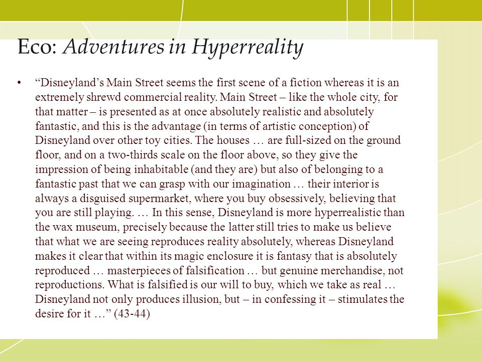 Eco: Adventures in Hyperreality