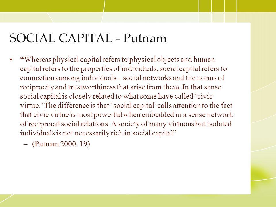SOCIAL CAPITAL - Putnam