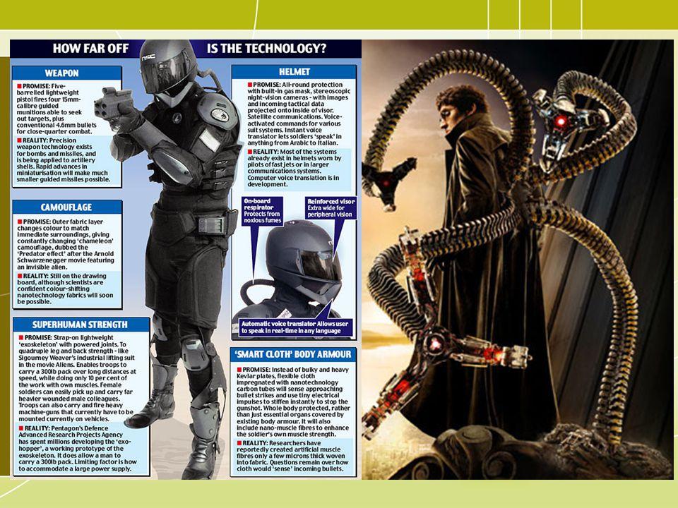 A military 'super suit' exoskeleton design ; Marvel Comics Doctor Octopus (promotional art for Spiderman film)