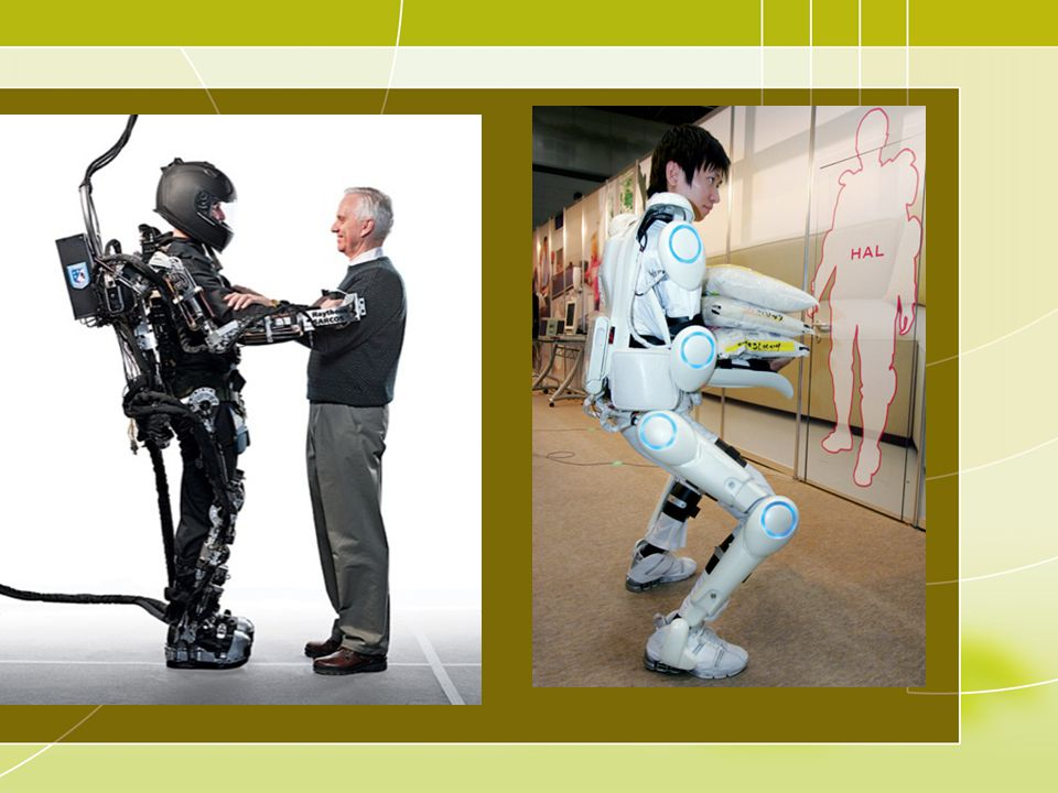 The American XOS Exoskeleton, a military prototype, developed by Steve Jacobson (Raytheon) ; The Japanese HAL-3 Exosuit developed to help medical staff lift patients