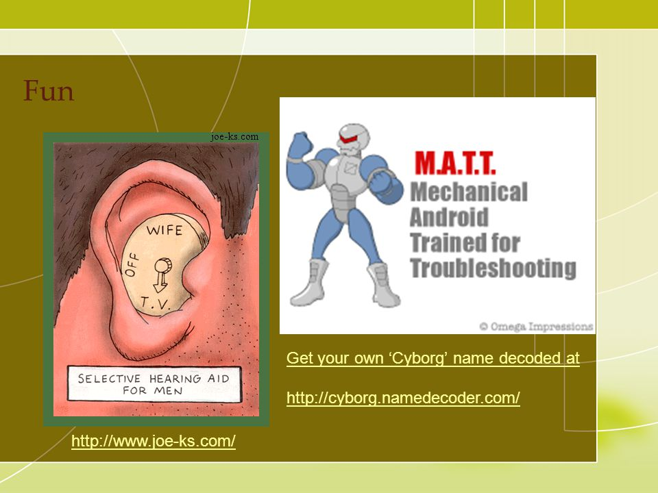 Fun Get your own 'Cyborg' name decoded at