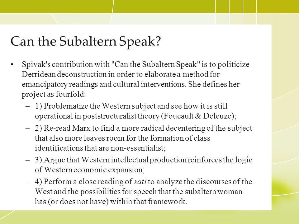 Can the Subaltern Speak