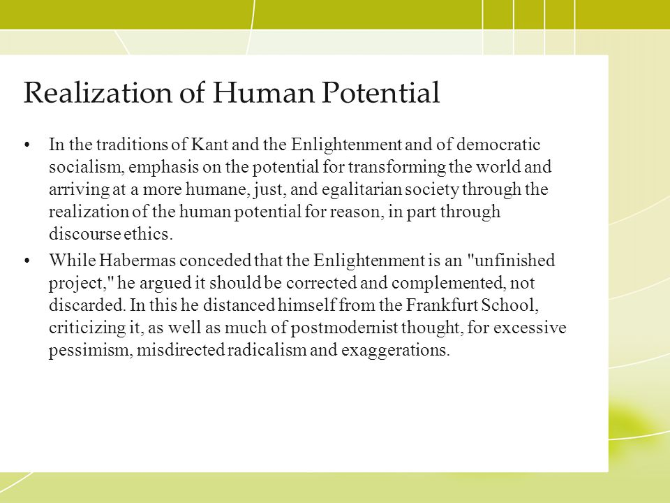 Realization of Human Potential