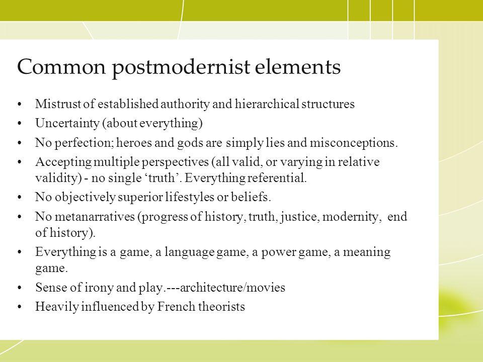 Common postmodernist elements