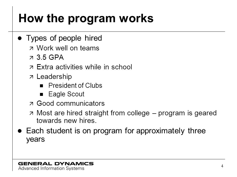 How the program works Types of people hired