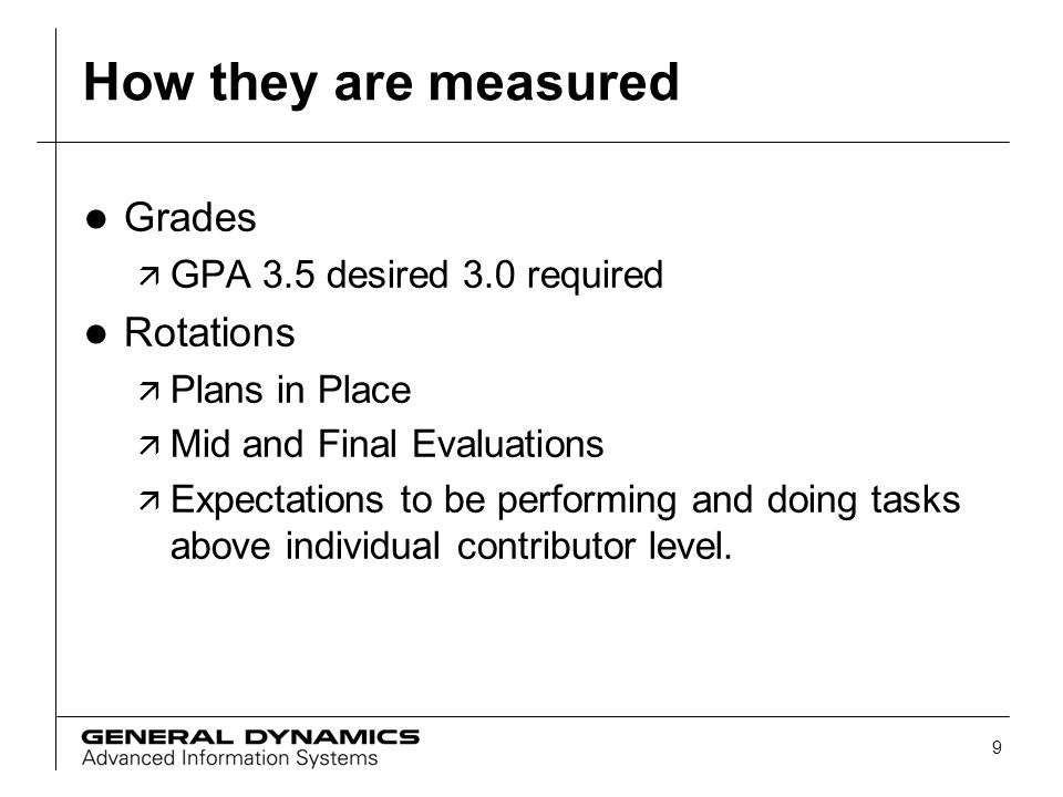 How they are measured Grades Rotations GPA 3.5 desired 3.0 required