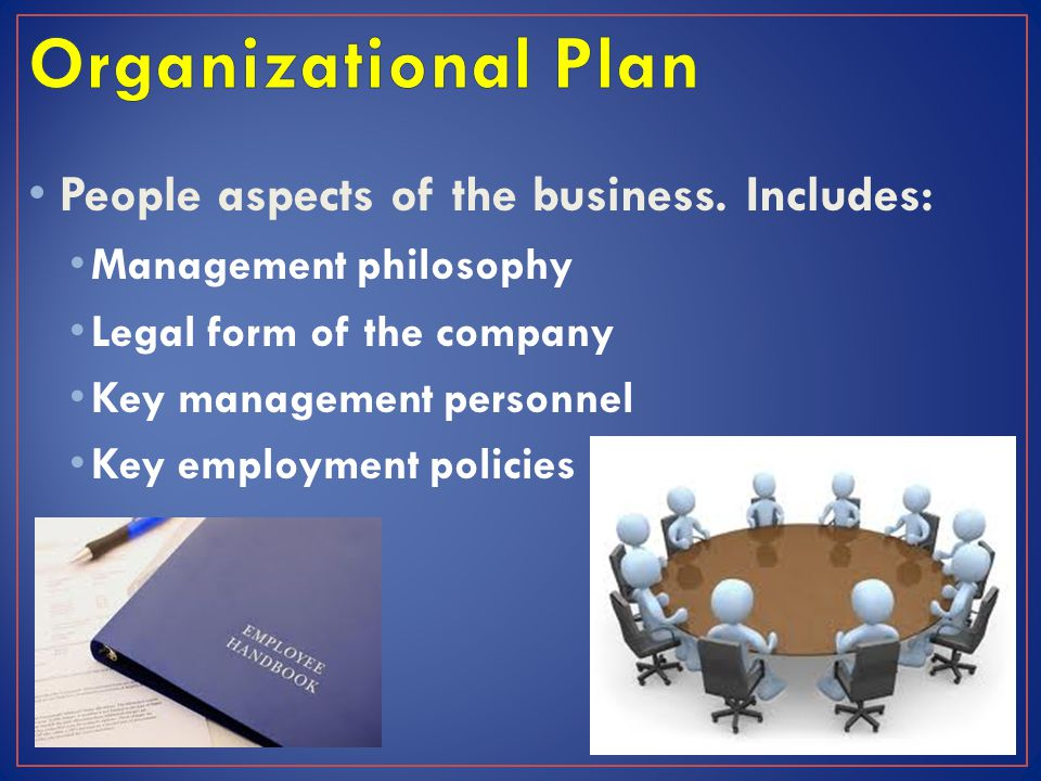 Organizational Plan People aspects of the business. Includes: