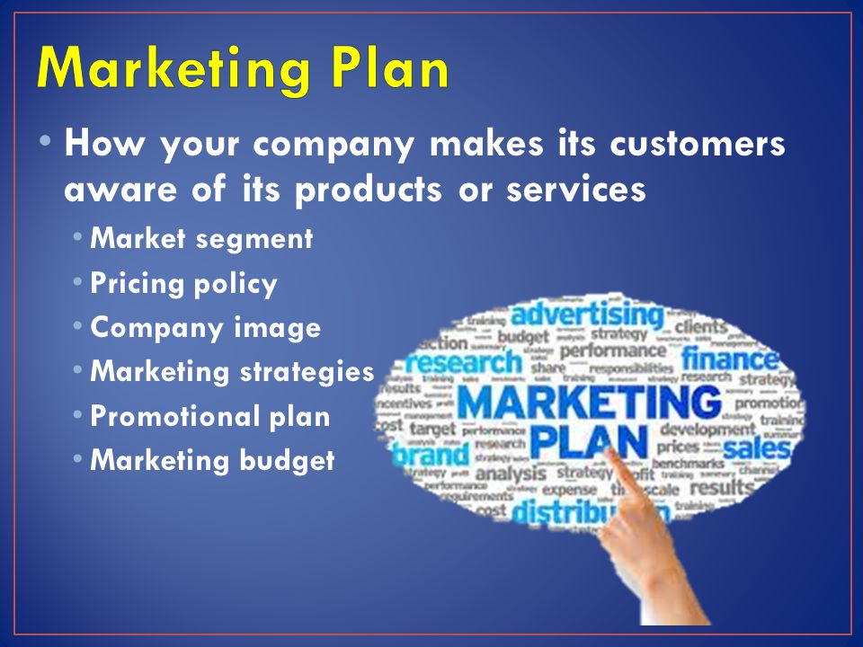 Marketing Plan How your company makes its customers aware of its products or services. Market segment.