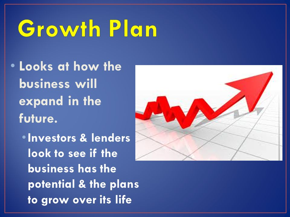 Growth Plan Looks at how the business will expand in the future.
