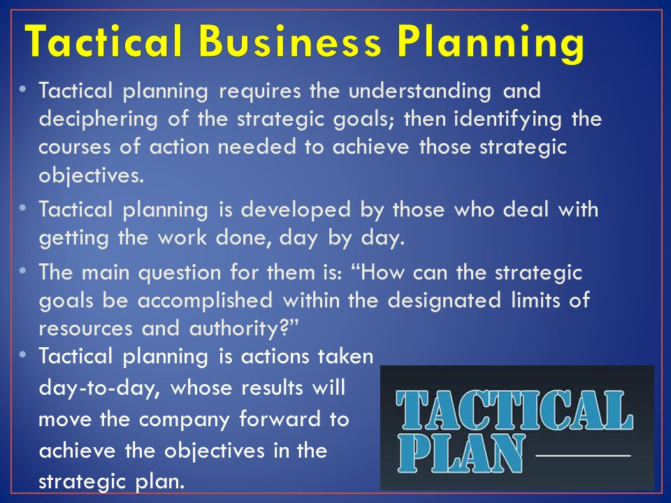 Tactical Business Planning