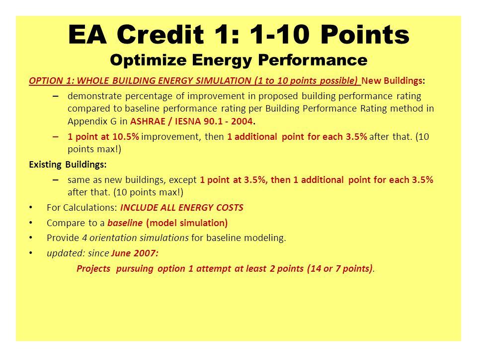 EA Credit 1: 1-10 Points Optimize Energy Performance