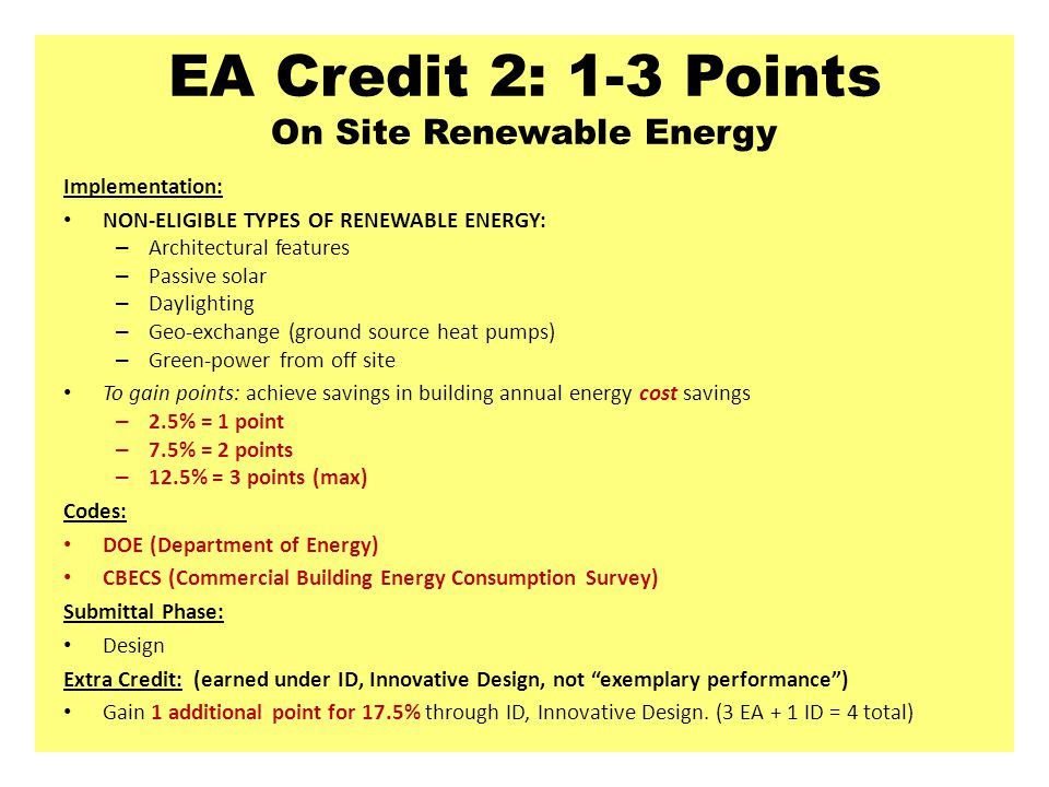 EA Credit 2: 1-3 Points On Site Renewable Energy
