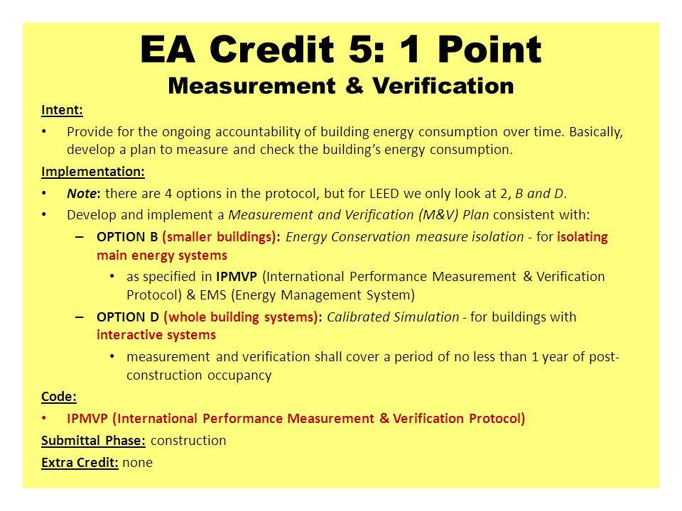 EA Credit 5: 1 Point Measurement & Verification