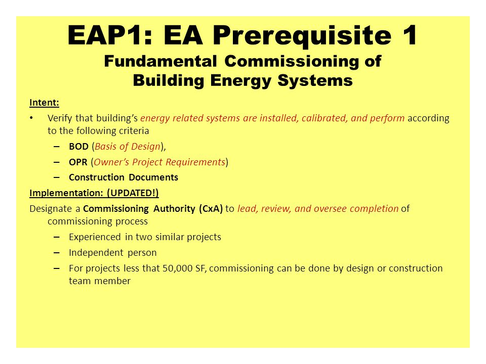 EAP1: EA Prerequisite 1 Fundamental Commissioning of Building Energy Systems