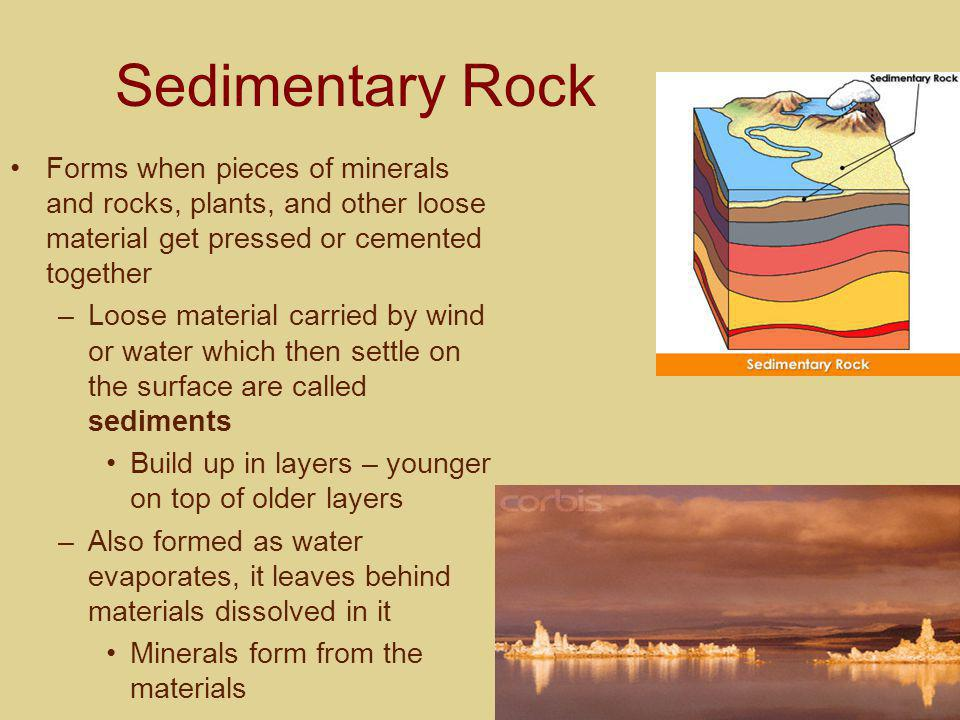Sedimentary Rock Forms when pieces of minerals and rocks, plants, and other loose material get pressed or cemented together.