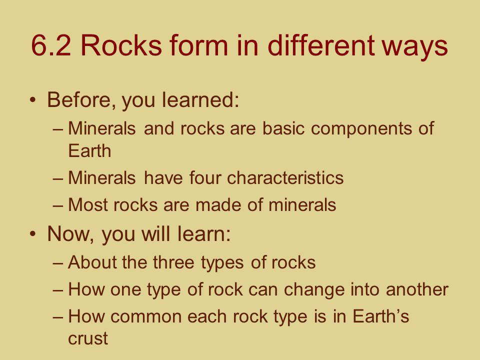 6.2 Rocks form in different ways