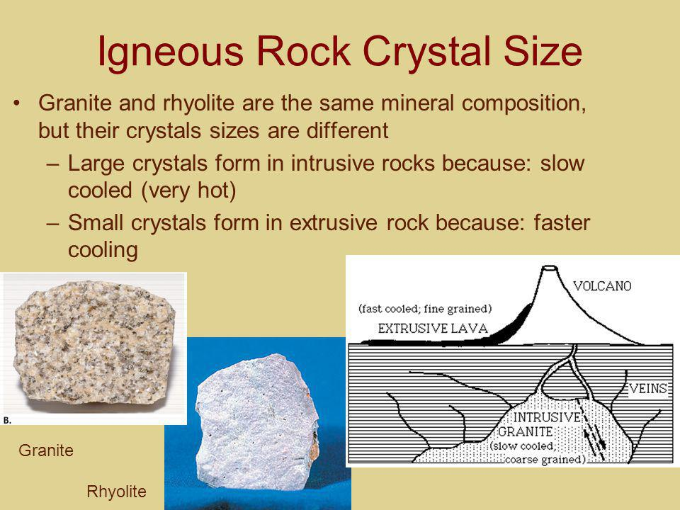 Igneous Rock Crystal Size