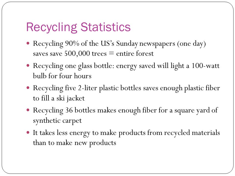 Recycling Statistics Recycling 90% of the US's Sunday newspapers (one day) saves save 500,000 trees = entire forest.