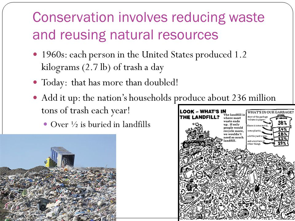 Conservation involves reducing waste and reusing natural resources