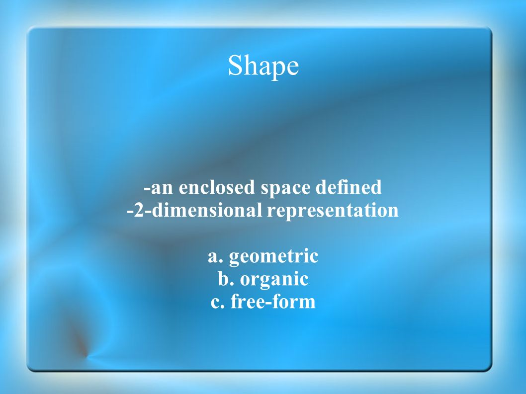 -an enclosed space defined -2-dimensional representation