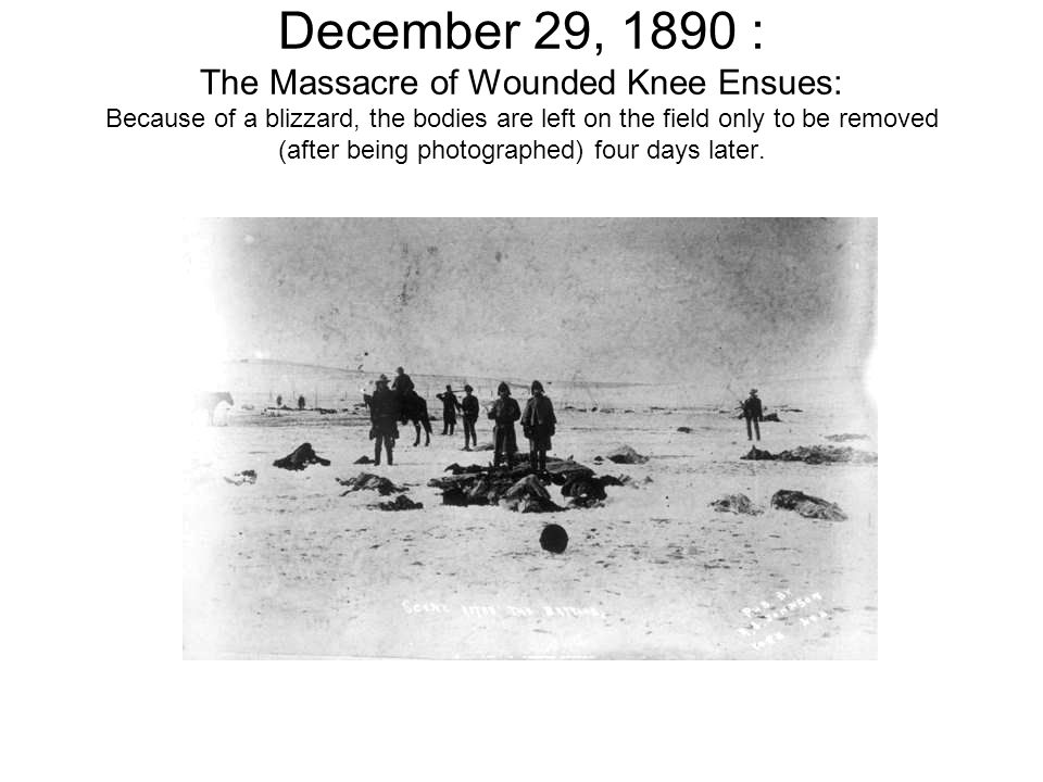 December 29, 1890 : The Massacre of Wounded Knee Ensues: Because of a blizzard, the bodies are left on the field only to be removed (after being photographed) four days later.