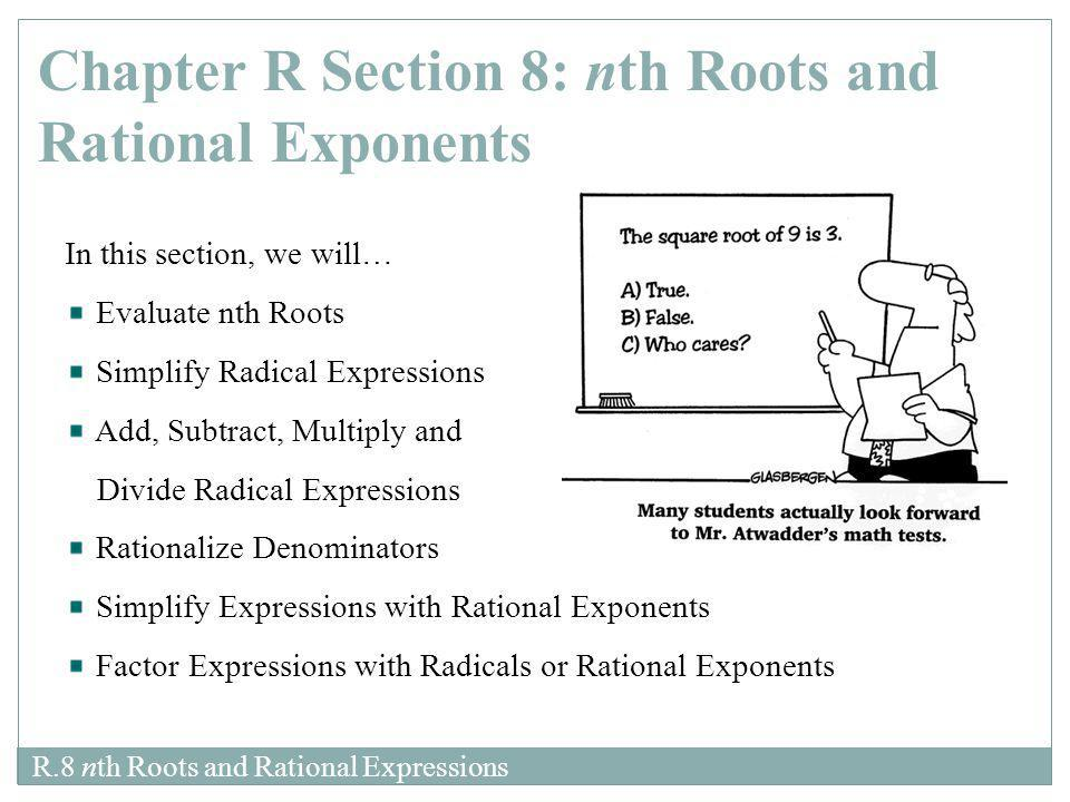 Chapter R Section 8: nth Roots and Rational Exponents