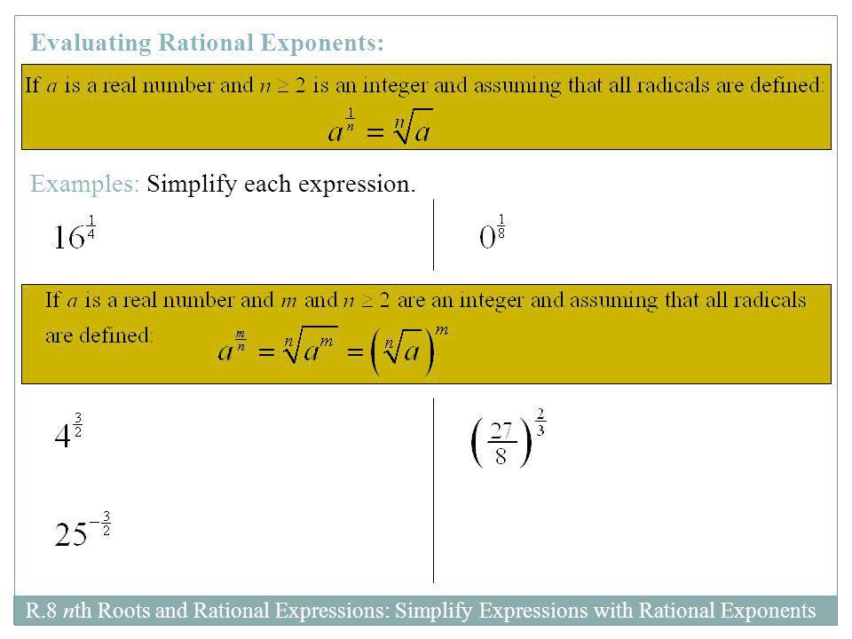 Evaluating Rational Exponents: