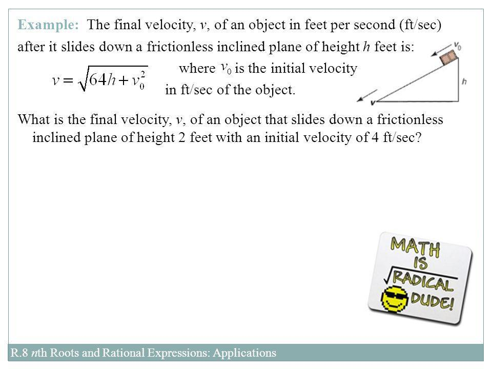 where is the initial velocity in ft/sec of the object.