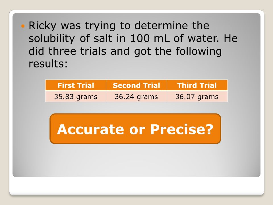 Ricky was trying to determine the solubility of salt in 100 mL of water. He did three trials and got the following results: