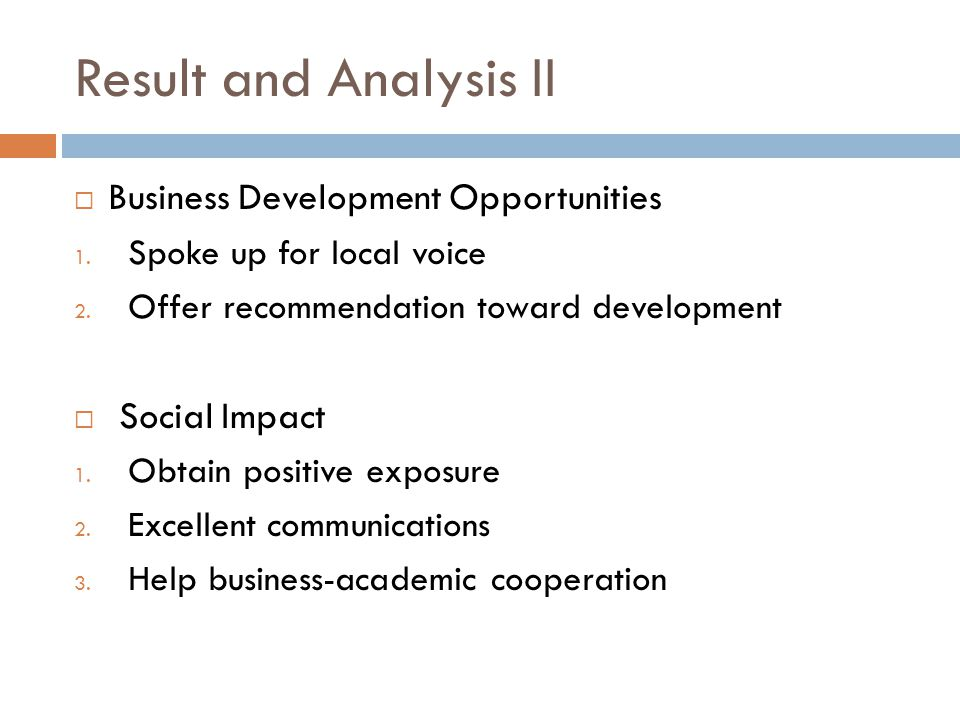 Result and Analysis II Business Development Opportunities