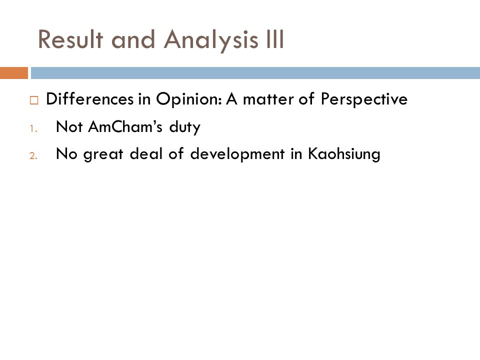 Result and Analysis III