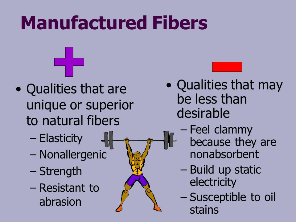 Manufactured Fibers Qualities that may be less than desirable