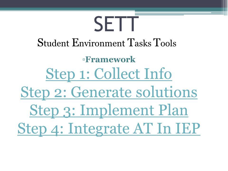 Student Environment Tasks Tools