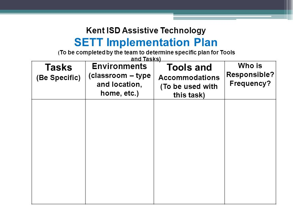 SETT Implementation Plan