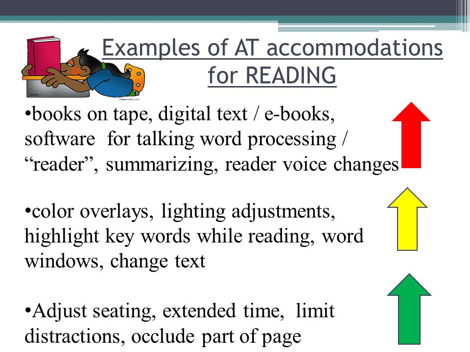 Examples of AT accommodations for READING