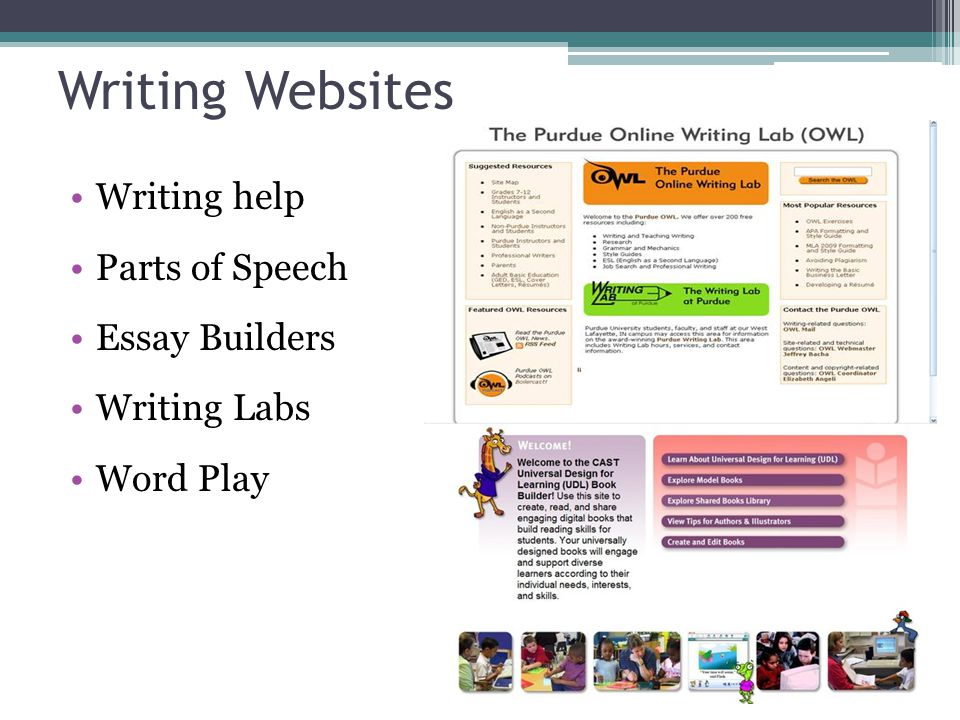 Writing Websites Writing help Parts of Speech Essay Builders