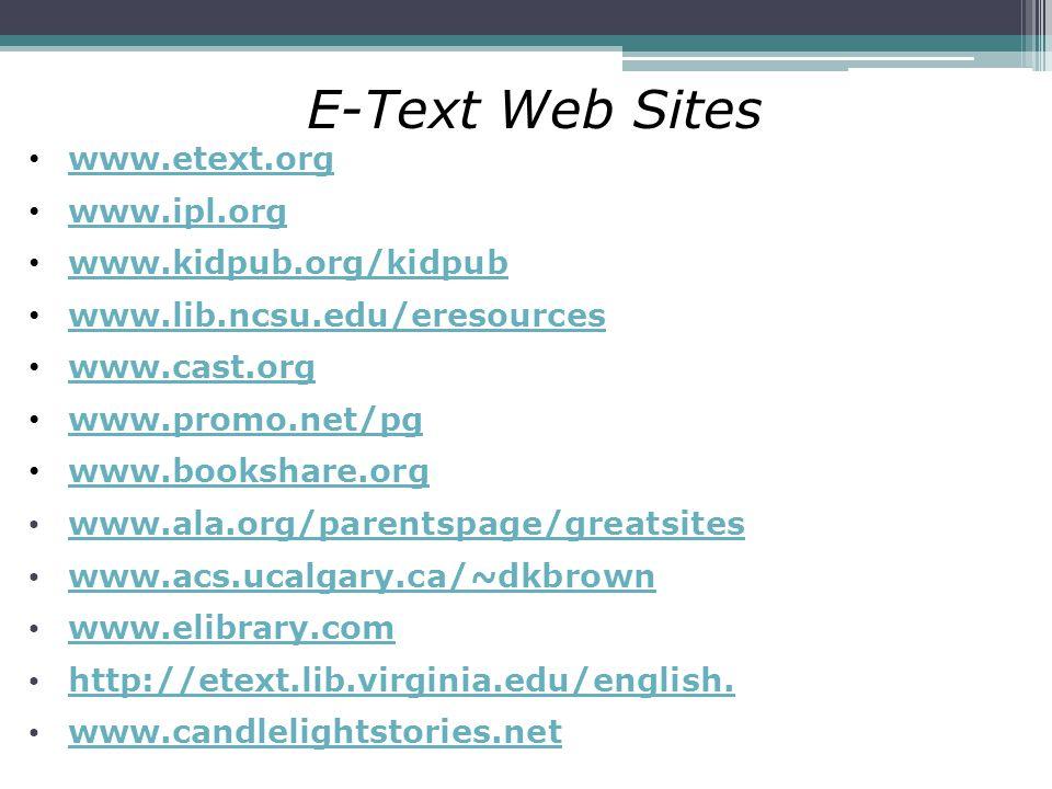 E-Text Web Sites www.etext.org www.ipl.org www.kidpub.org/kidpub