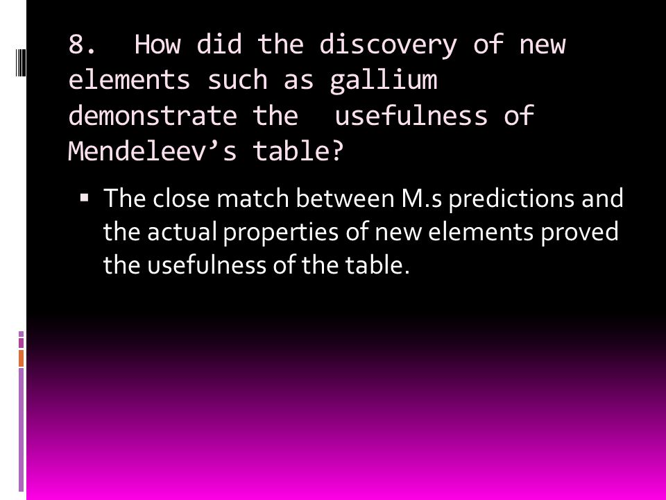 8. How did the discovery of new elements such as gallium demonstrate the usefulness of Mendeleev's table