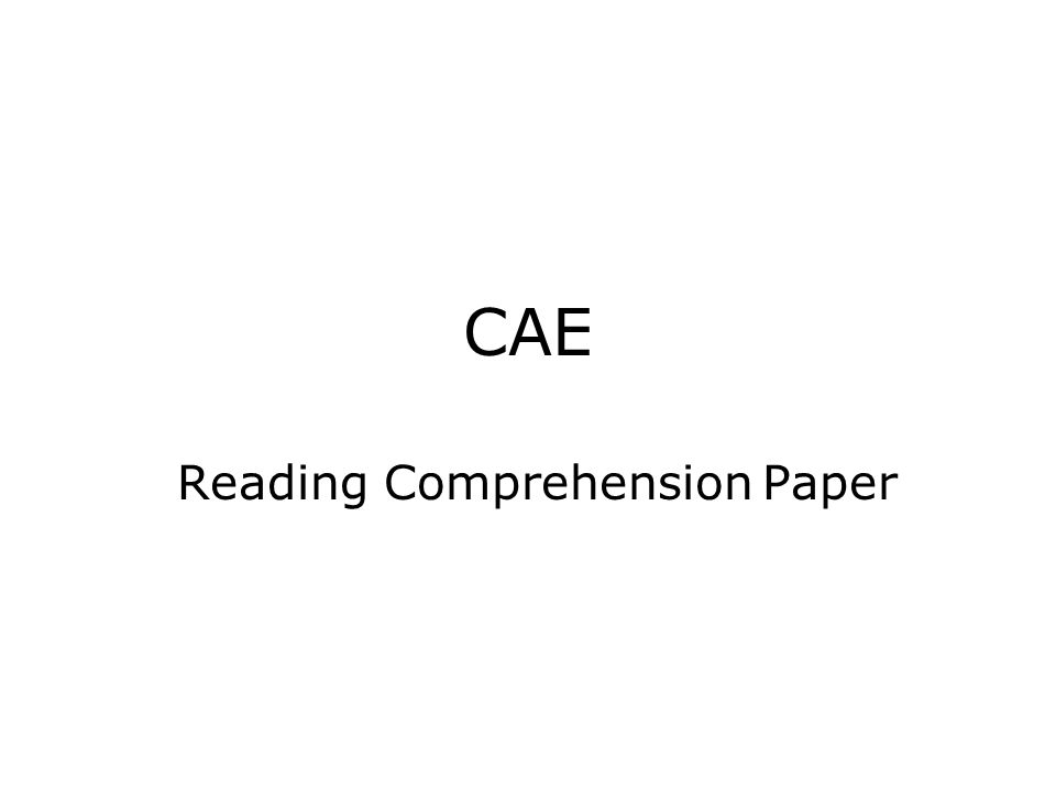 Reading Comprehension Paper