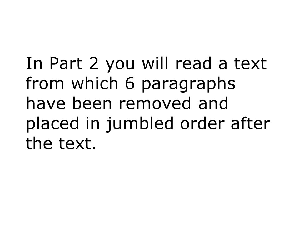 In Part 2 you will read a text from which 6 paragraphs have been removed and placed in jumbled order after the text.