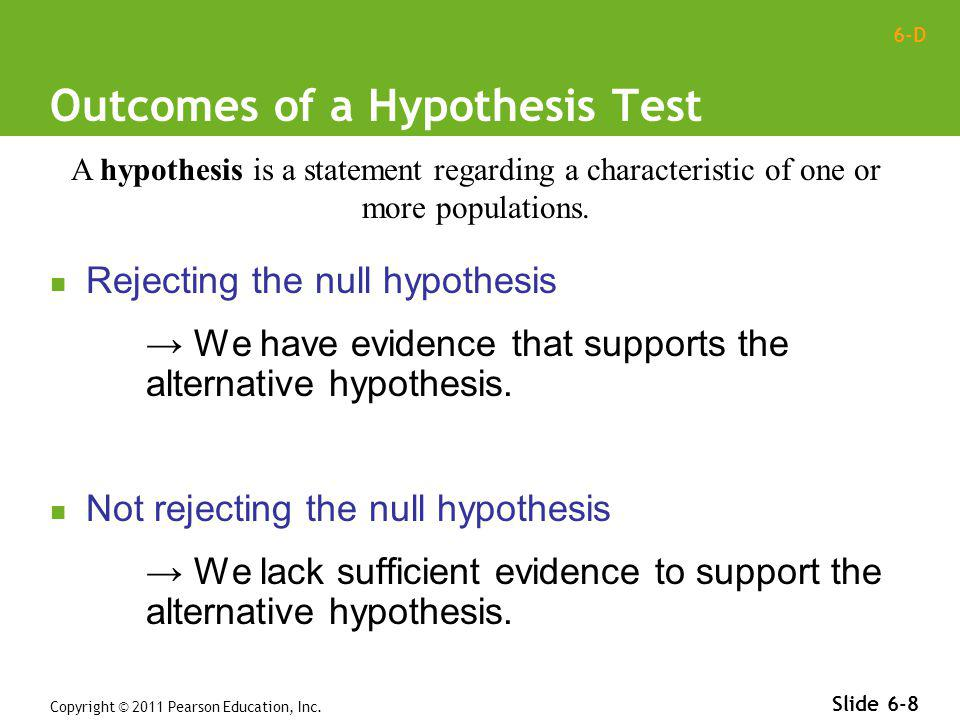Outcomes of a Hypothesis Test