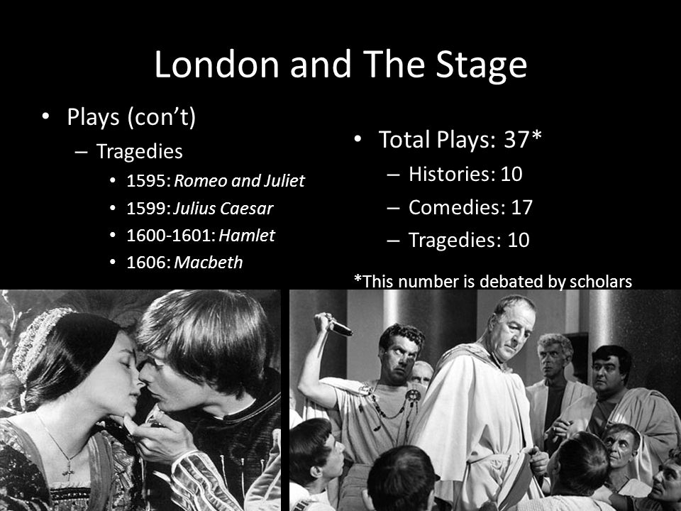 London and The Stage Plays (con't) Total Plays: 37* Tragedies